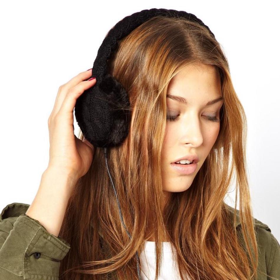 Aparatori urechi Cable Knit, cablu cu mufa de 3.5mm, KSMFBK2 Negru 4