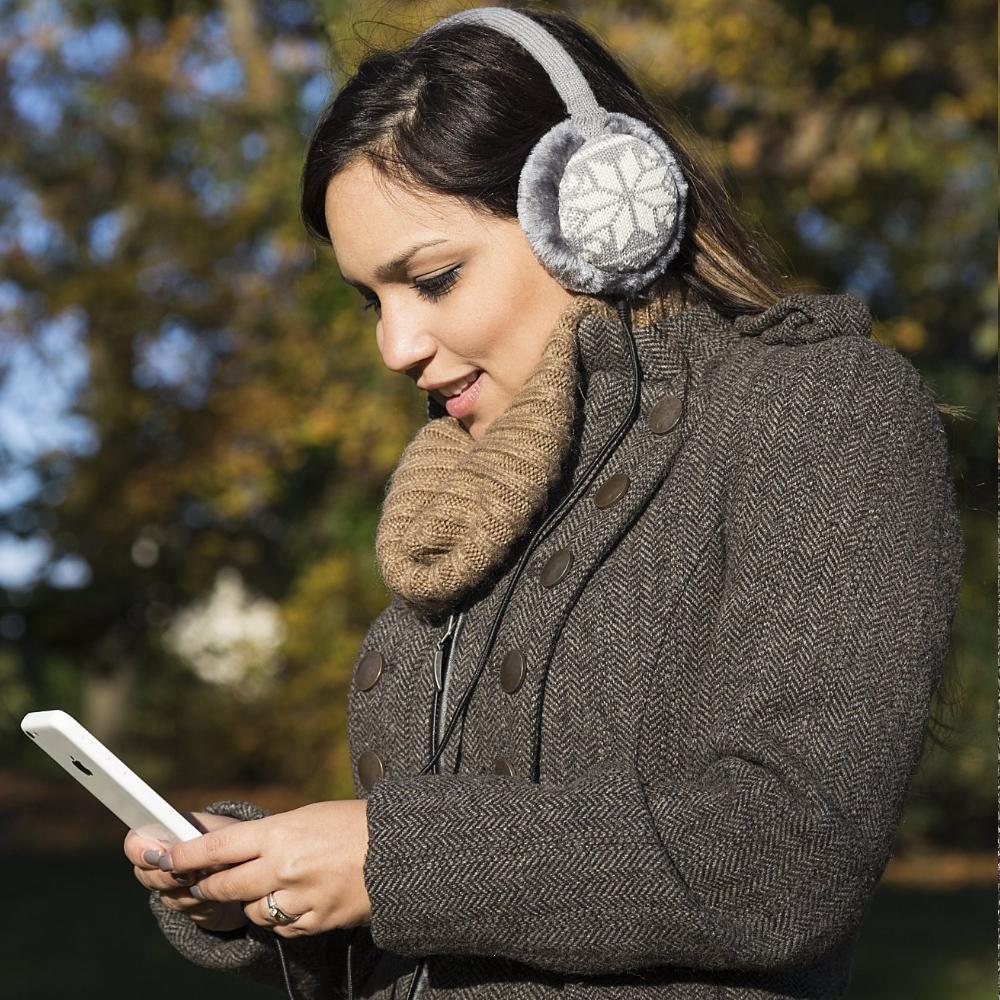 Aparatori urechi Fair Isle, cablu cu mufa de 3.5mm, KSMFFGY2 Gri txt