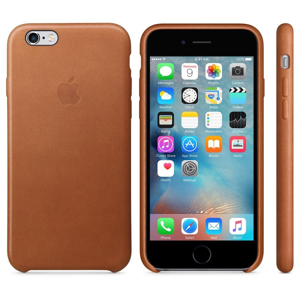Capac protectie spate Apple Leather Case Premium Saddle Brown pentru iPhone 6s, MKXT2ZM A