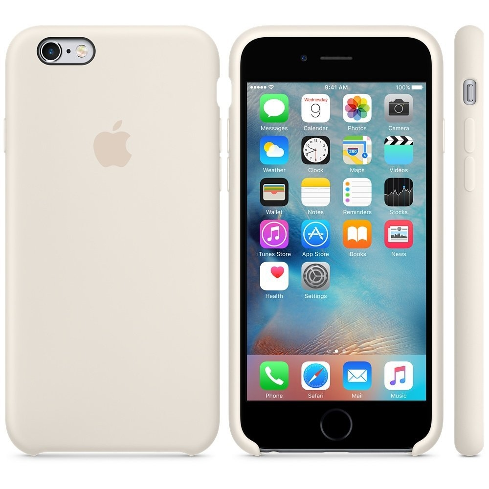 Capac protectie spate Apple Silicone Case Antique White pentru iPhone 6s, MLCX2ZM A