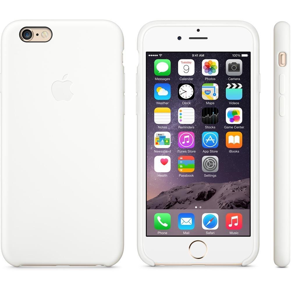 Capac de protectie spate Apple Silicone Case pentru iPhone 6 Plus 6s Plus, MGRF2ZM A White
