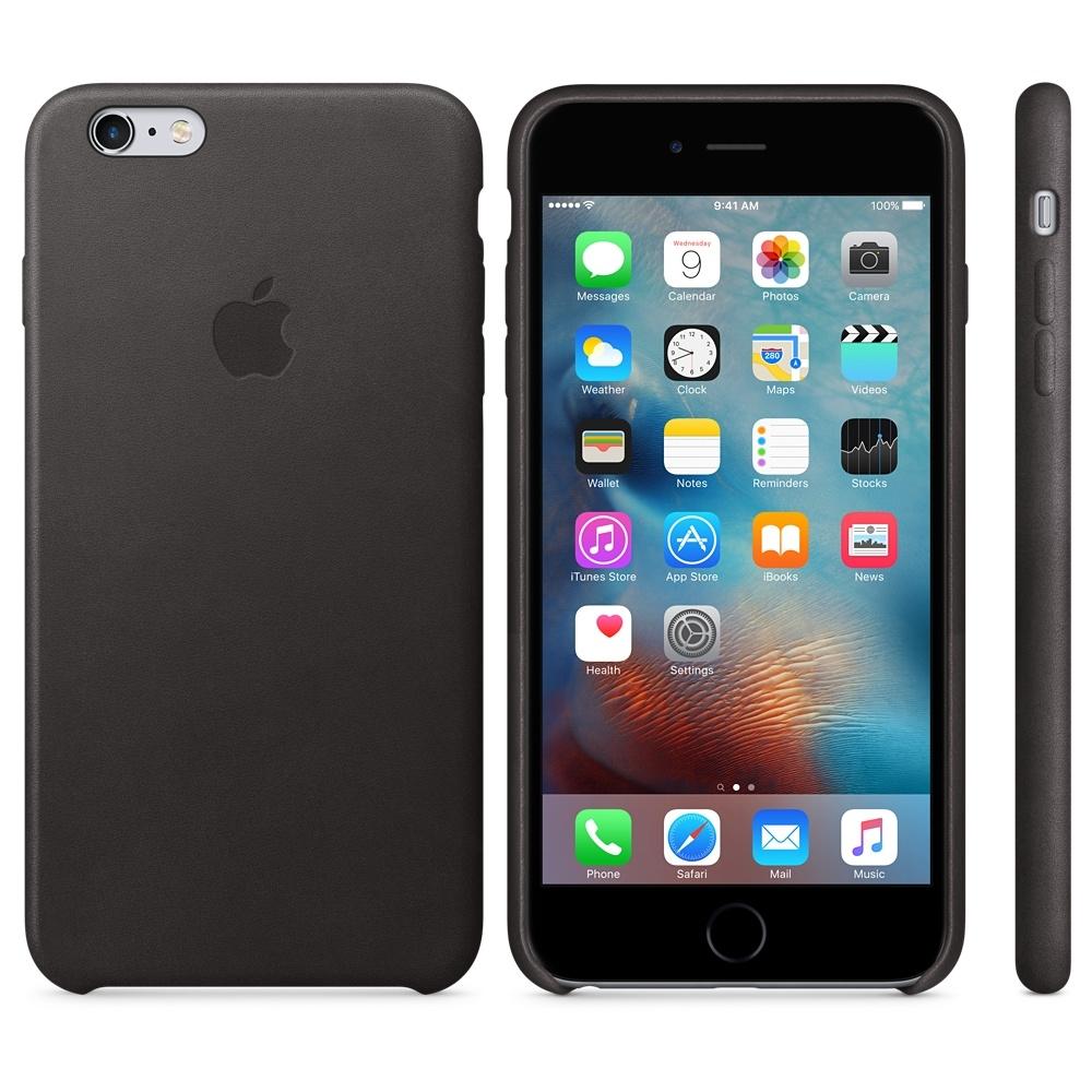 Capac protectie spate Apple Leather Case Premium Black pentru iPhone 6s Plus, MKXF2ZM A