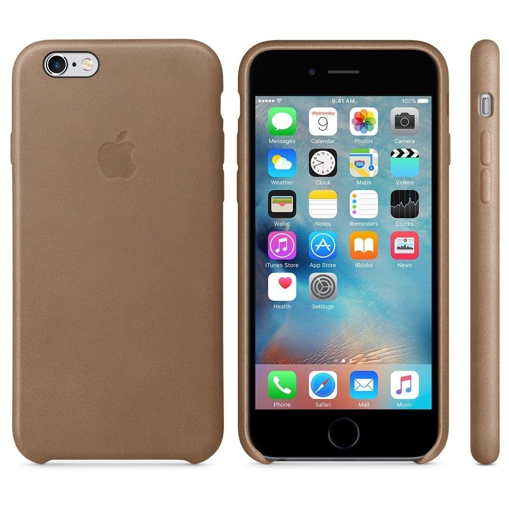 Capac protectie spate Apple Leather Case Premium Brown pentru iPhone 6s, MKXR2ZM A