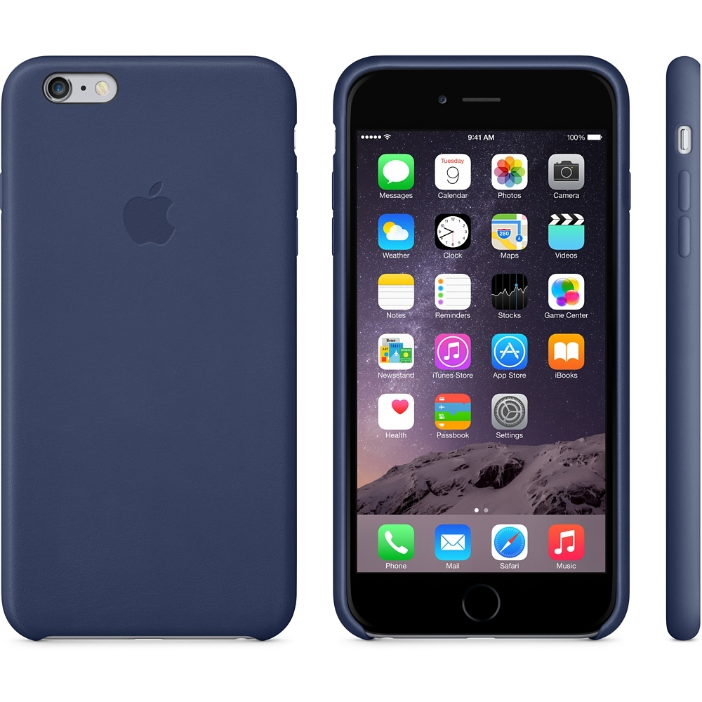 Capac protectie spate Apple Leather Case Premium Midnight Blue pentru iPhone 6 Plus 6s Plus, MGQV2ZM A