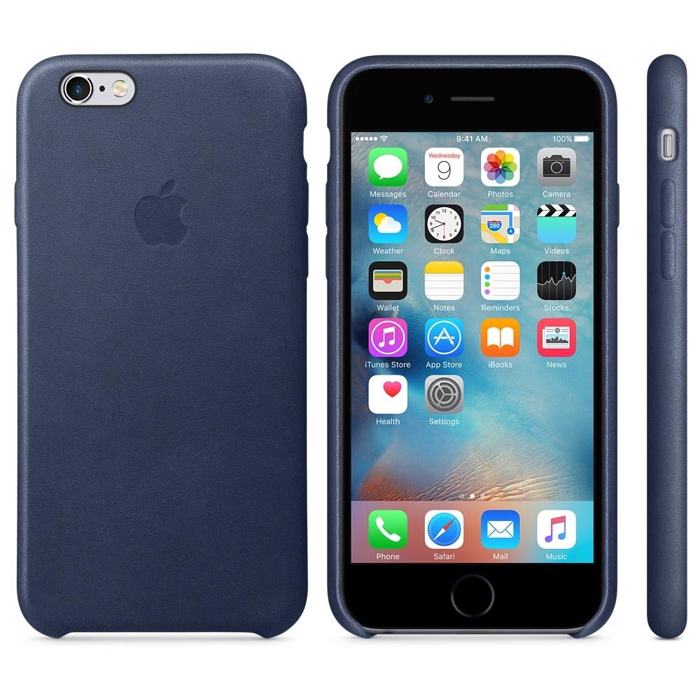 Capac protectie spate Apple Leather Case Premium Midnight Blue pentru iPhone 6s, MKXU2ZM A