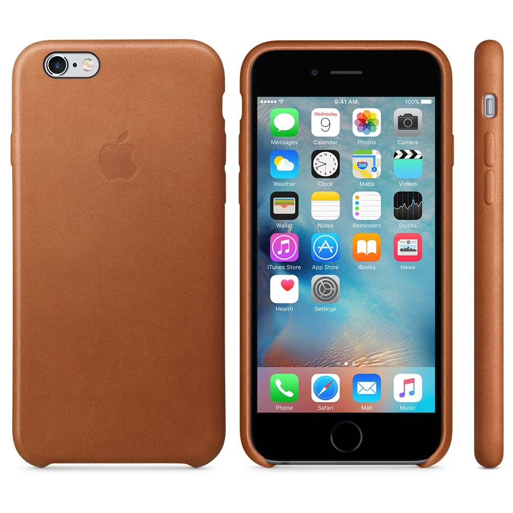 Capac protectie spate Apple Leather Case Premium Saddle Brown pentru iPhone 6s, MKXT2ZM A