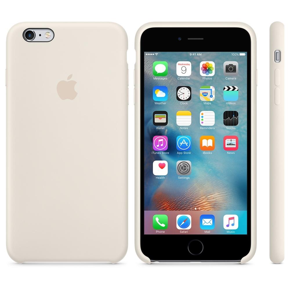 Capac protectie spate Apple Silicone Case Antique White pentru iPhone 6s Plus, MLD22ZM A