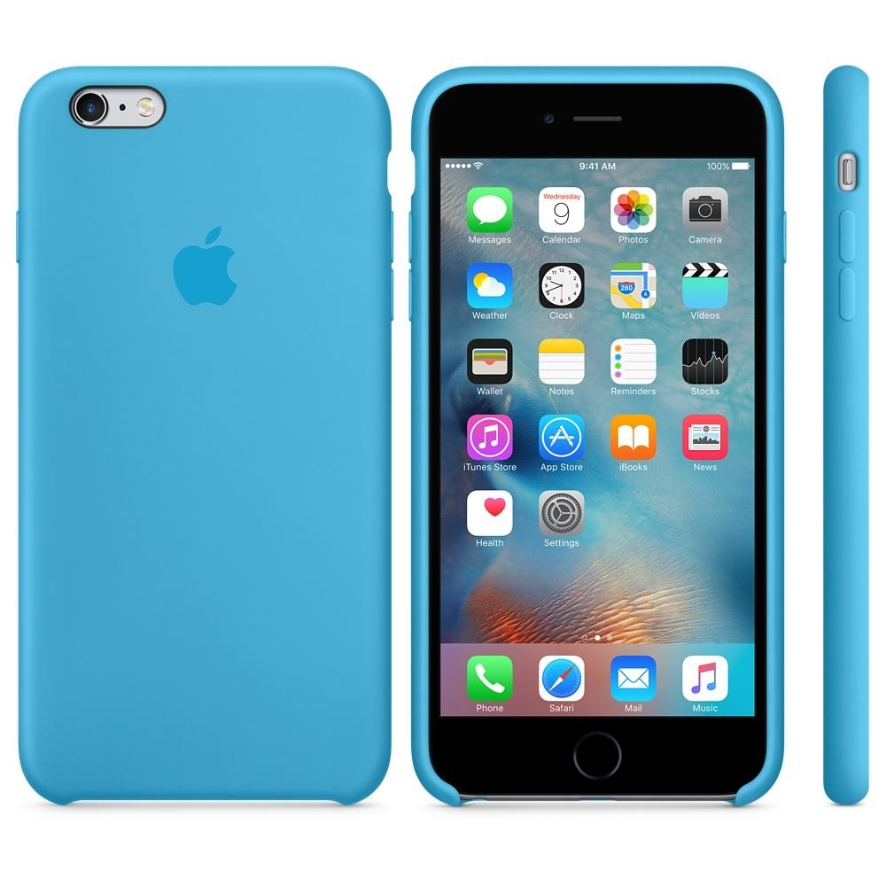 Capac protectie spate Apple Silicone Case Blue pentru iPhone 6s Plus, MKXP2ZM A