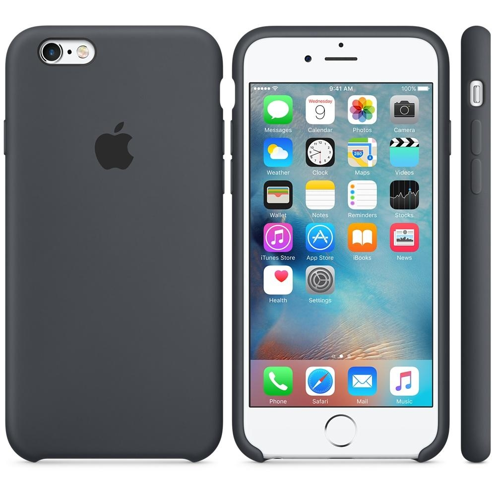 Capac protectie spate Apple Silicone Case Charcoal Black pentru iPhone 6s, MKY02ZM A