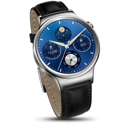 Bratara Smart Huawei Watch W1 otel inoxidabil, bratara piele neagra