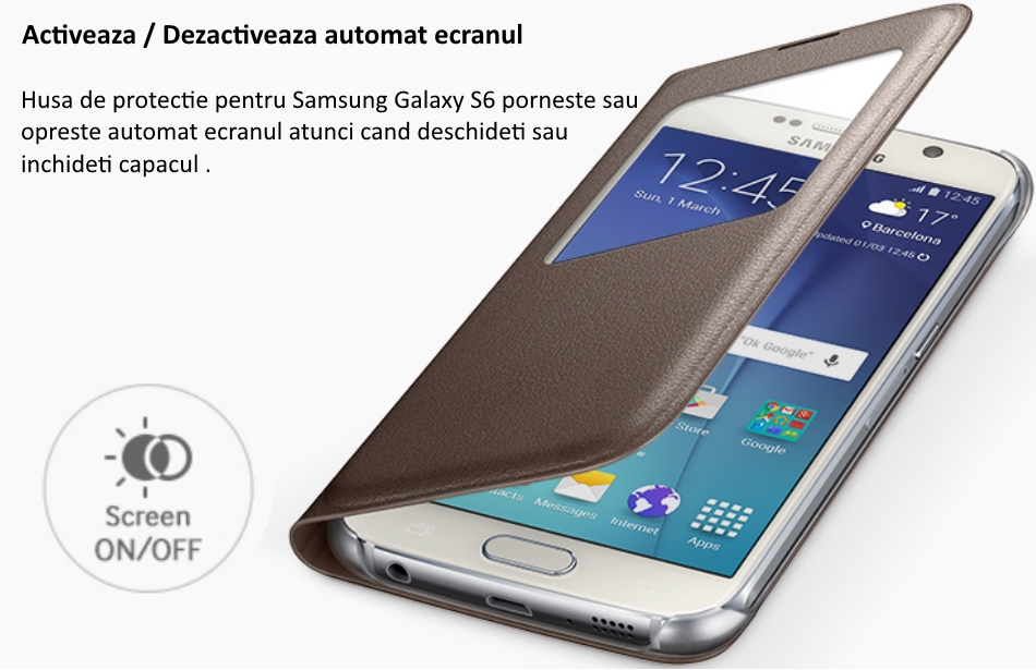 Husa S View pentru Samsung Galaxy S6 (G920), EF-CG920PBEGWW 2