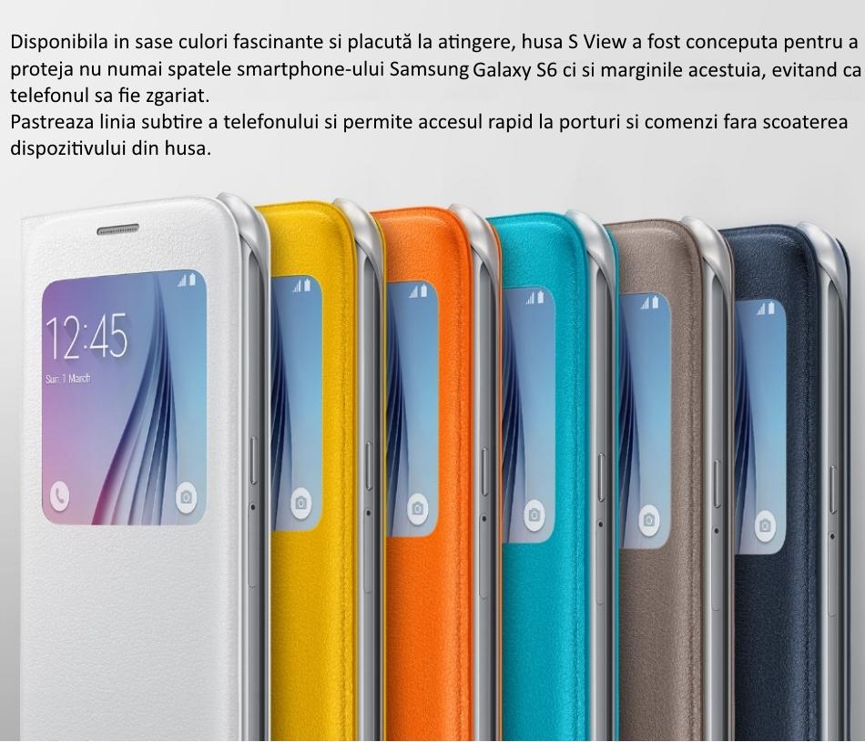 Husa S View pentru Samsung Galaxy S6 (G920), EF-CG920PBEGWW