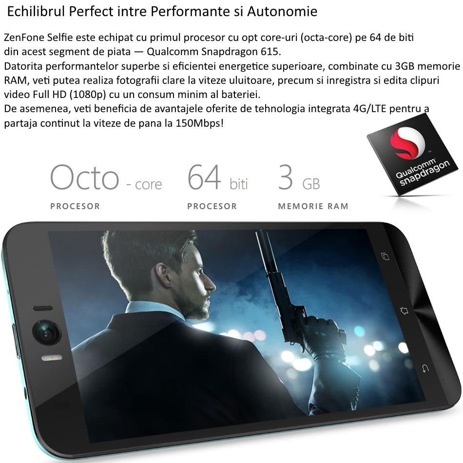 Telefon mobil Dual SIM ASUS ZenFone Selfie ZD551KL, 32GB + 3GB RAM, LTE, Black 8
