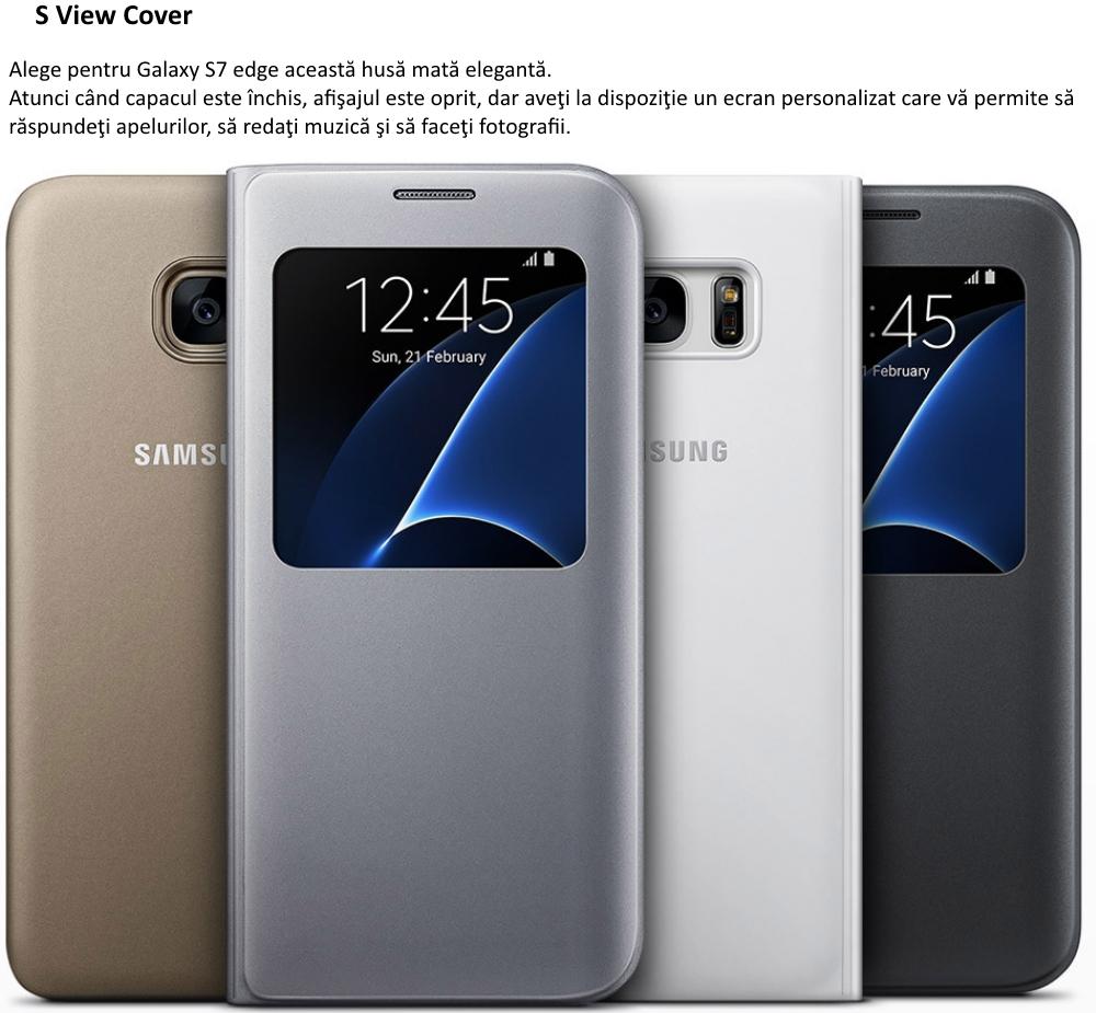 Husa S View Black pentru Samsung Galaxy S7 Edge (G935)