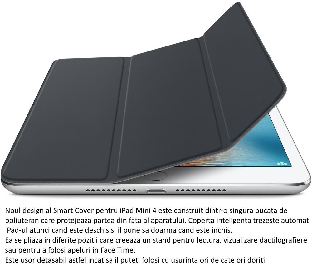 Husa Stand Apple Smart Cover pentru iPad mini 4, MKLV2ZM A Charcoal Gray