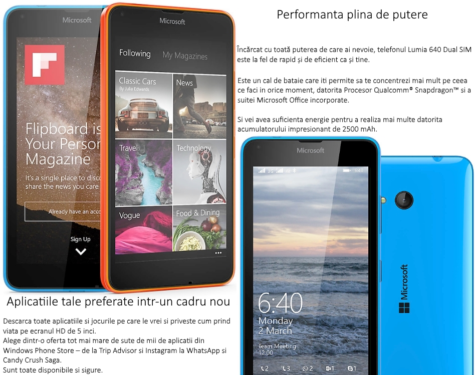 Dual SIM Microsoft Lumia 640 (Windows Phone 8.1) 3G 2