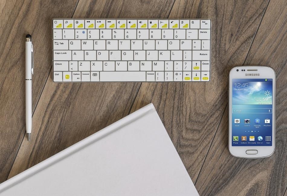 KIT mini tastatura bluetooth universala, aluminiu, KBMETWH Alb