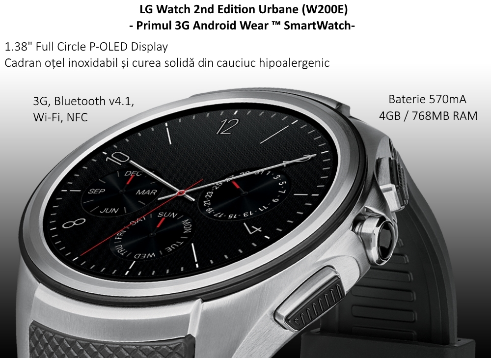 Ceas SmartWatch LG Watch Urbane 2nd Edition, W200E Silver Black