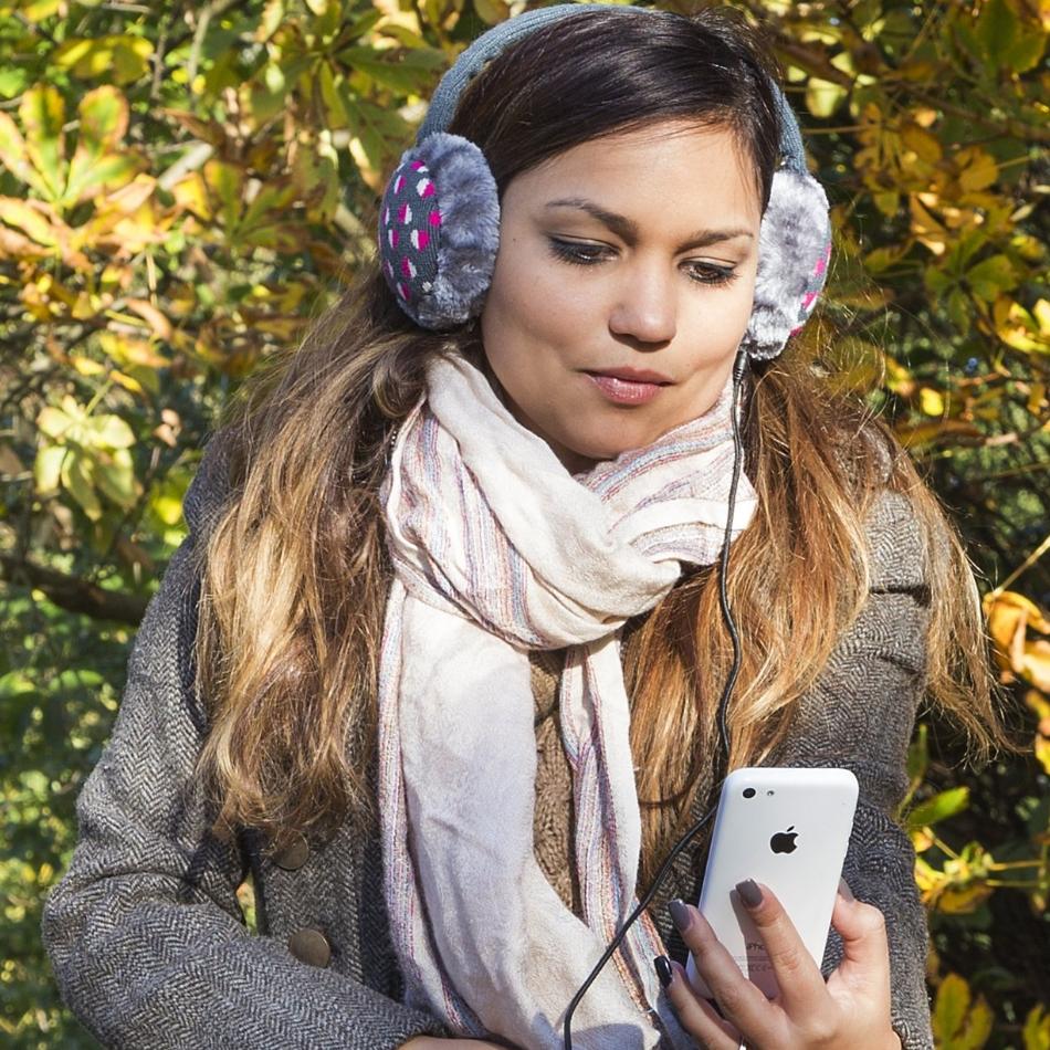 Aparatori urechi Hearts, cablu cu mufa de 3.5mm, KSMFBHT Gri  Alb  Roz