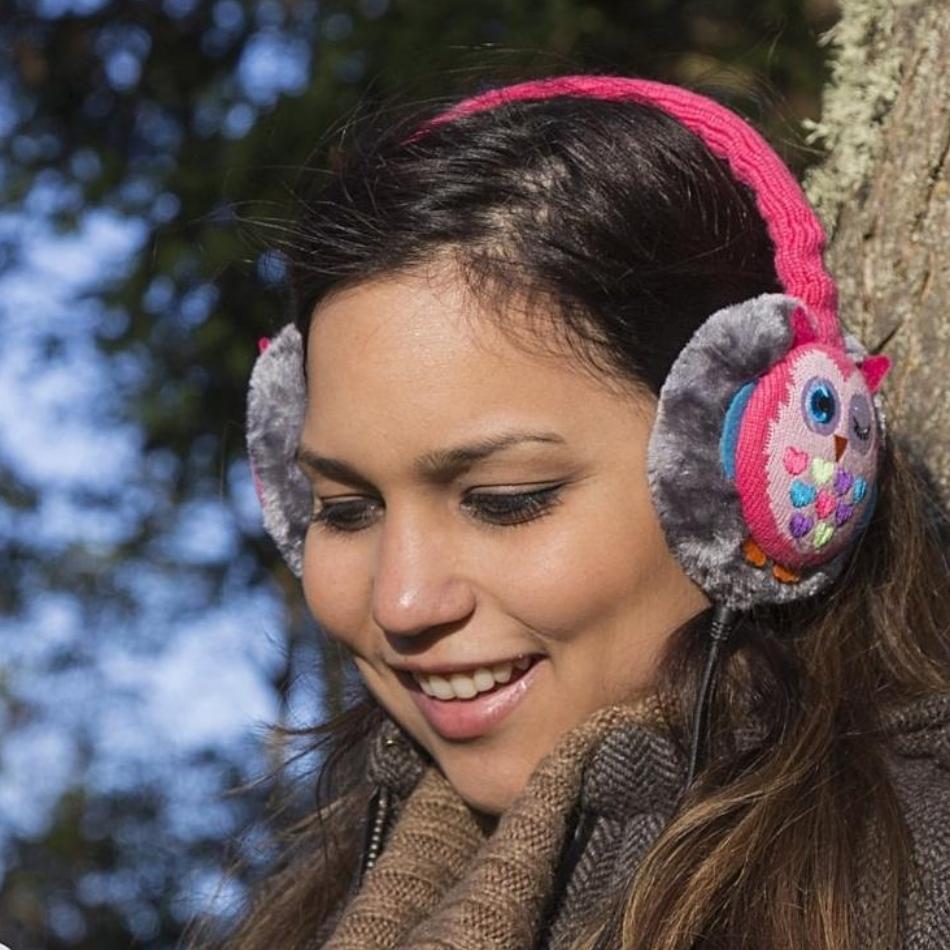 Aparatori urechi Owl, cablu cu mufa de 3.5mm, KSMFOWL Roz 4