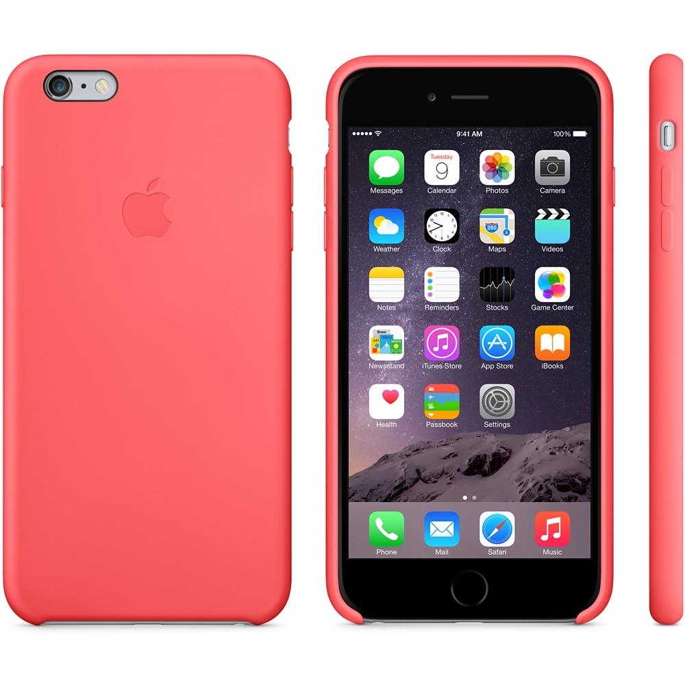 Capac de protectie spate Apple Silicone Case pentru iPhone 6 Plus 6s Plus, MGXW2ZM A Pink 2