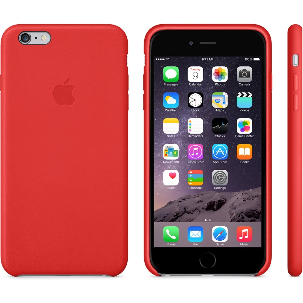 Capac protectie spate Apple Leather Case Premium Bright Red pentru iPhone 6 Plus 6s Plus, MGQY2ZM A