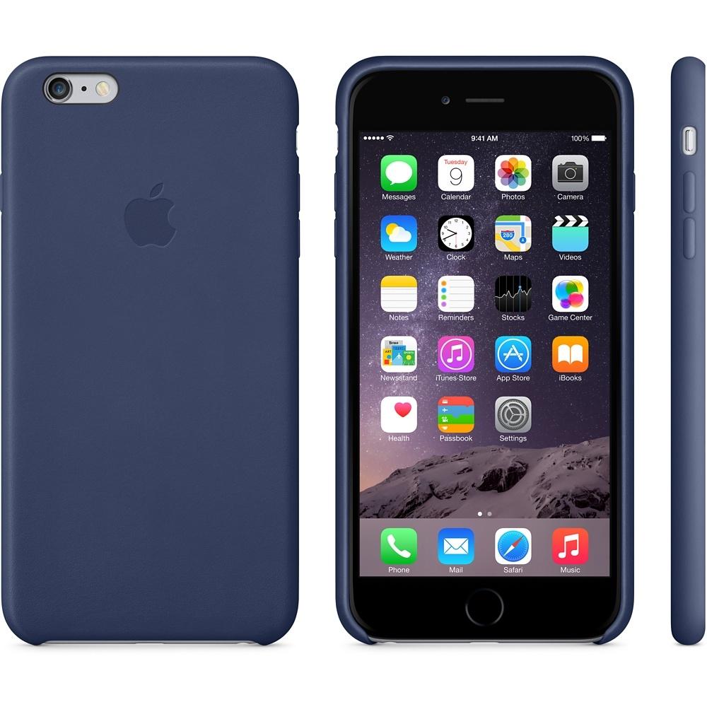 Capac protectie spate Apple Leather Case Premium Midnight Blue pentru iPhone 6 Plus 6s Plus, MGQV2ZM A