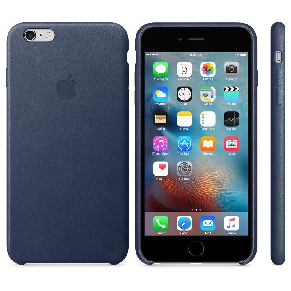 Capac protectie spate Apple Leather Case Premium Midnight Blue pentru iPhone 6s Plus, MKXD2ZM A