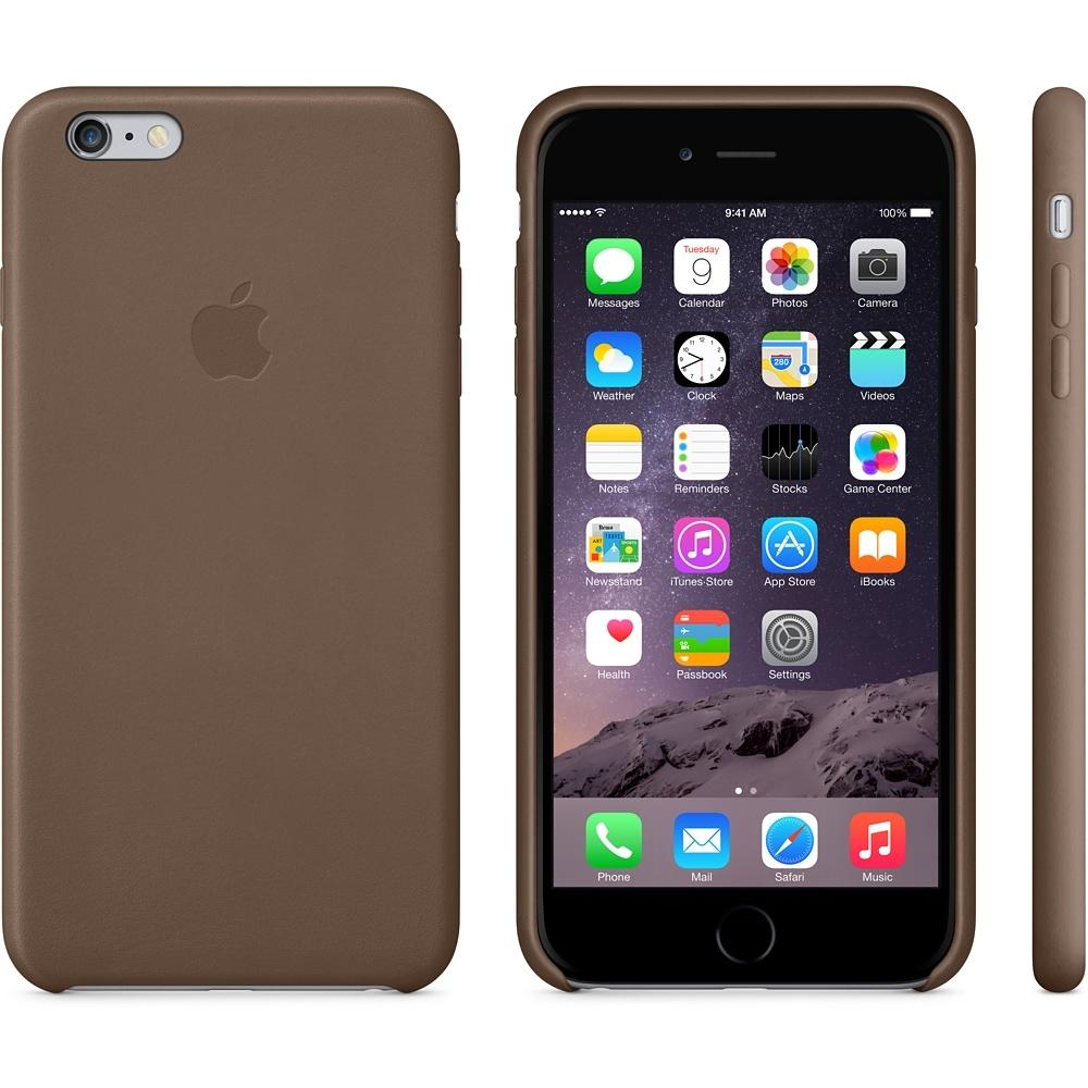 Capac protectie spate Apple Leather Case Premium Olive Brown pentru iPhone 6 Plus 6s Plus, MGQR2ZM A