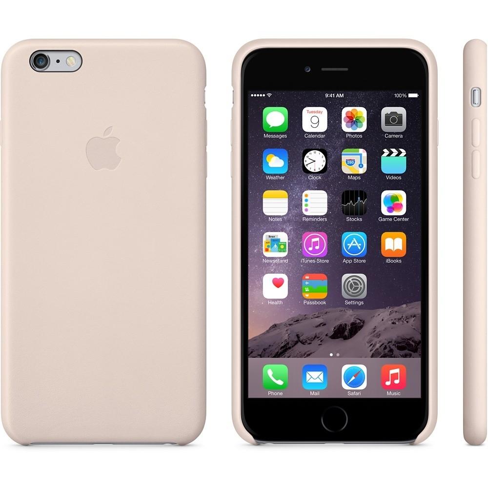 Capac protectie spate Apple Leather Case Premium Soft Pink pentru iPhone 6 Plus 6s Plus, MGQW2ZM A 2
