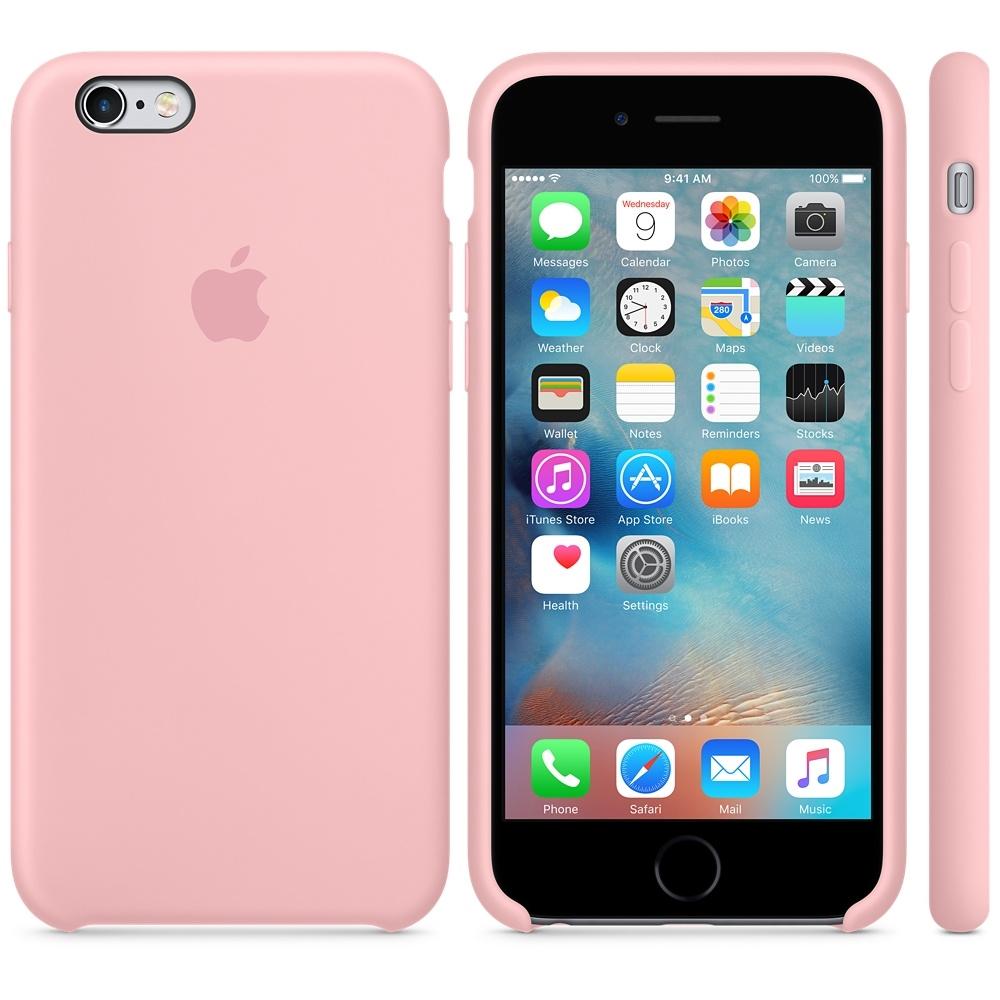 Capac protectie spate Apple Silicone Case Pink pentru iPhone 6s, MLCU2ZM A