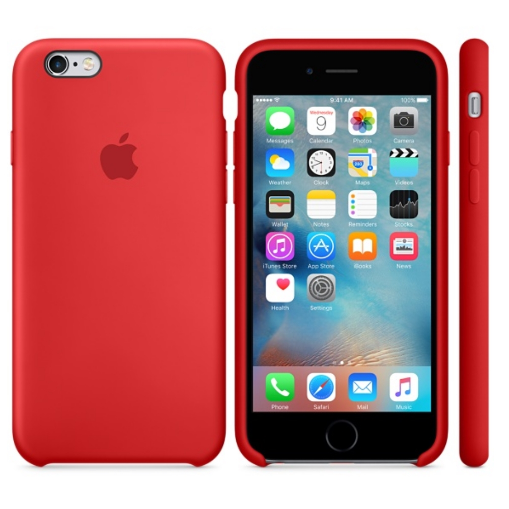 Capac protectie spate Apple Silicone Case Red pentru iPhone 6s, MKY32ZM A 2