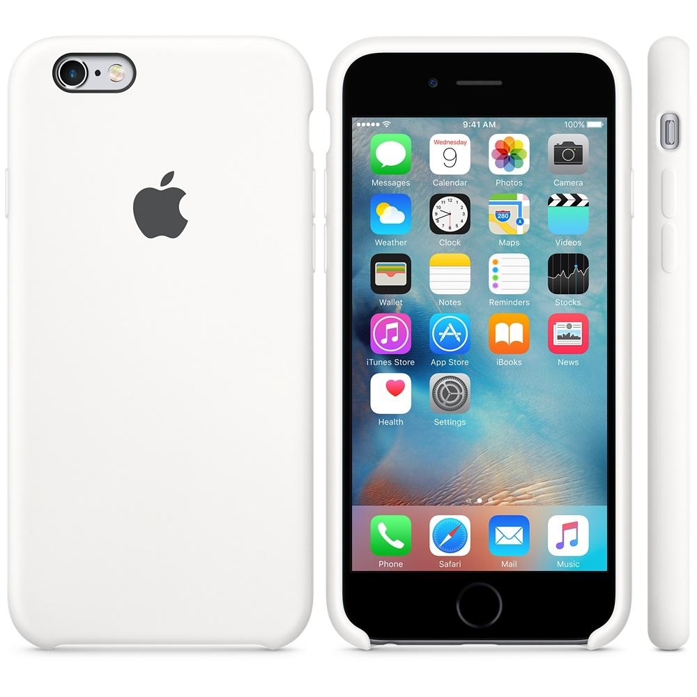 Capac protectie spate Apple Silicone Case White pentru iPhone 6s, MKY12ZM A