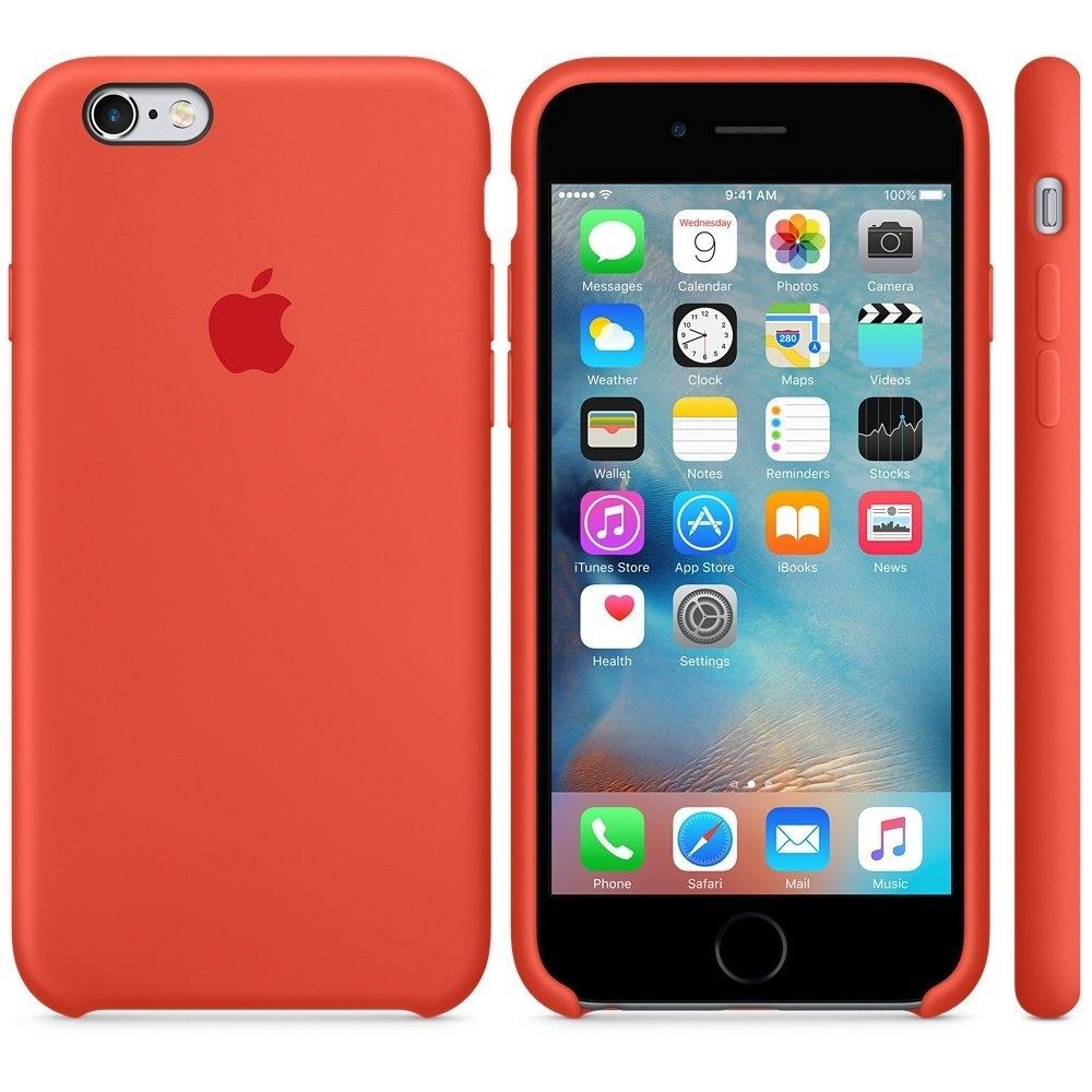 Capac protectie spate Apple Silicone Orange pentru iPhone 6s, MKY62ZM A 2