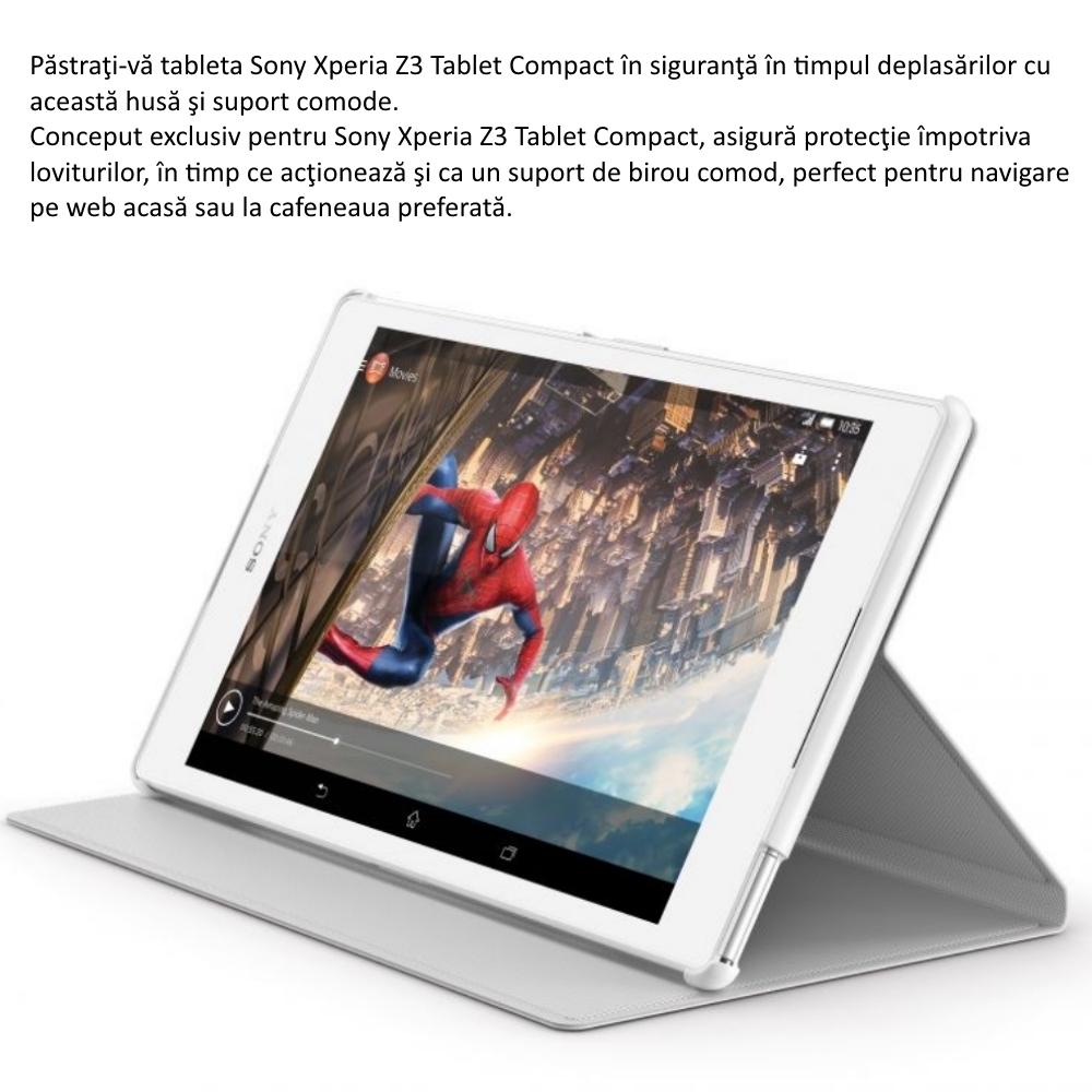 Husa Sony SCR28, tip Style Book piele eco pentru Sony Xperia Z3 Compact Tablet, Negru