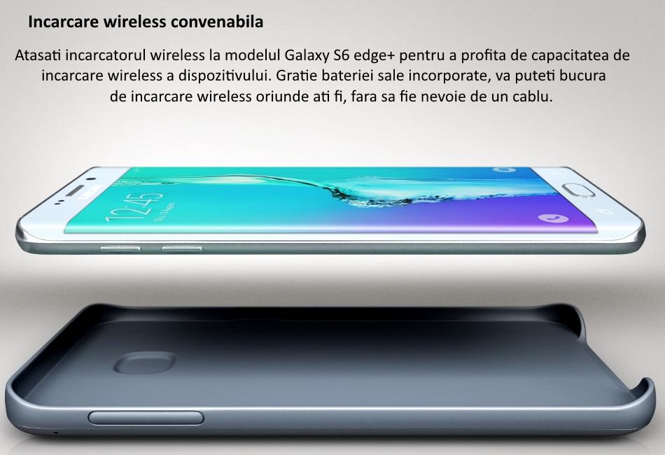 Capac spate cu acumulator 3400 mAh si incarcare wireless pentru Samsung Galaxy S6 Edge+ (G928)