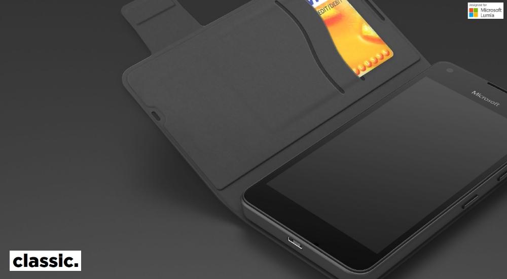 Husa Flip Cover Mozo 550FB Classic Black pentru Microsoft Lumia 550