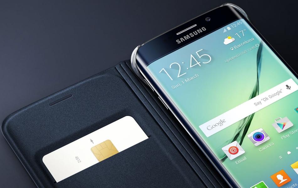 Husa Flip Wallet Cover PU pentru Samsung Galaxy S6 Edge (G925), EF-WG925PBEGWW 1
