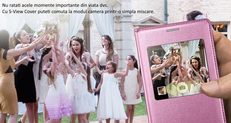 Husa S-View Flip Cover Punching Pattern pentru Samsung Galaxy S5 (G900) 2