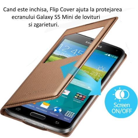 Husa S-View Flip Cover Punching Pattern pentru Samsung Galaxy S5 (G900) 3