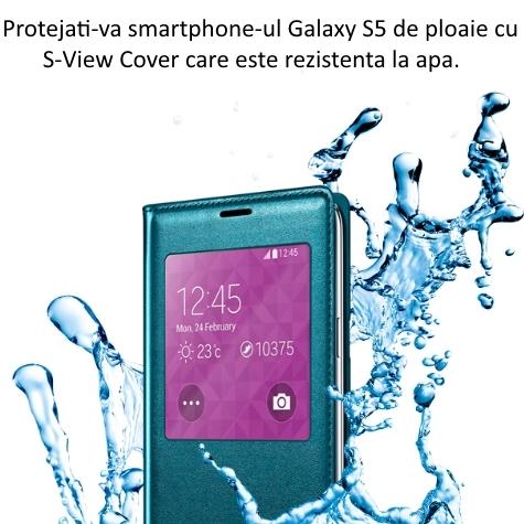 Husa S-View Flip Cover Punching Pattern pentru Samsung Galaxy S5 (G900) 4