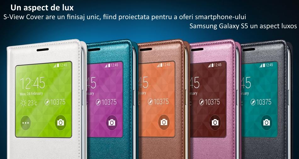 Husa S-View Flip Cover pentru Samsung Galaxy S5 (G900)