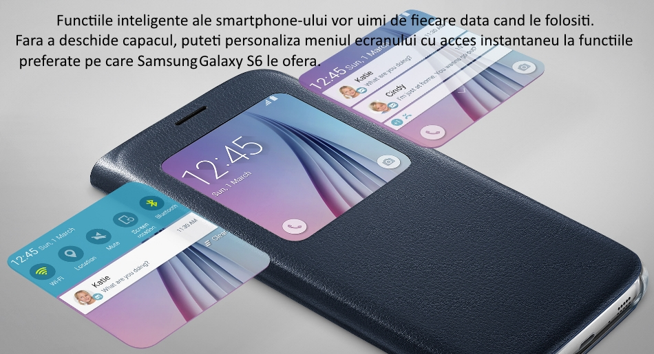 Husa S View pentru Samsung Galaxy S6 (G920), EF-CG920PBEGWW 1
