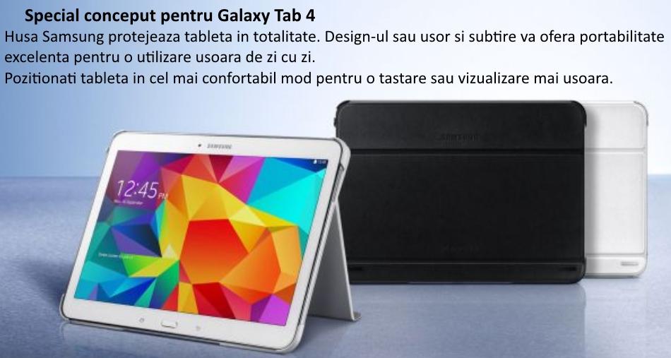 Husa Stand Book Cover pentru Samsung Galaxy Tab 4 10.1 inch