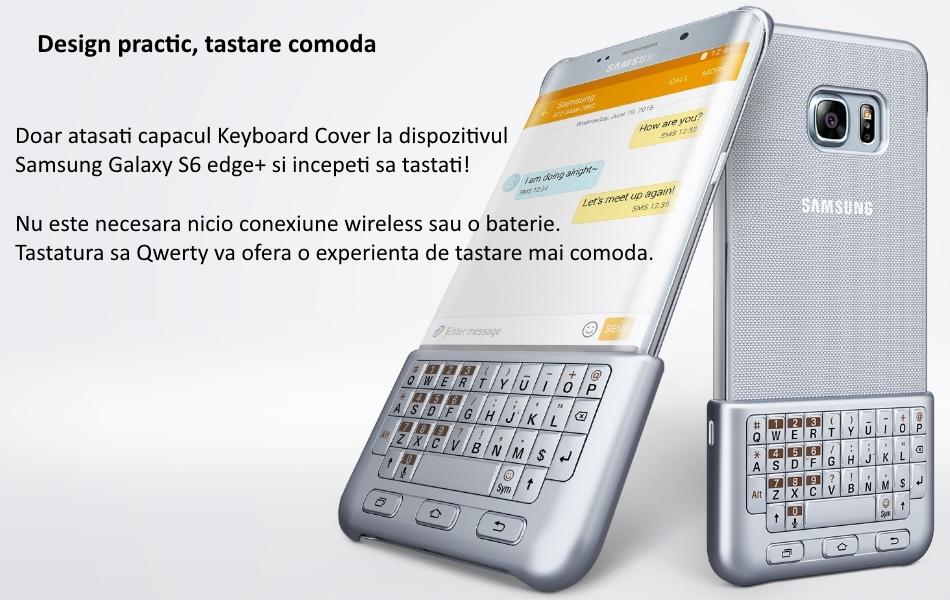 Husa protectie spate cu tastatura QWERTY pentru Samsung Galaxy S6 Edge+ (G928), EJ-CG928MSEGDE Silver a