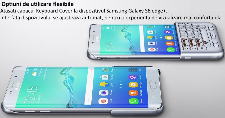 Husa protectie spate cu tastatura QWERTY pentru Samsung Galaxy S6 Edge+ (G928), EJ-CG928MSEGDE Silver b