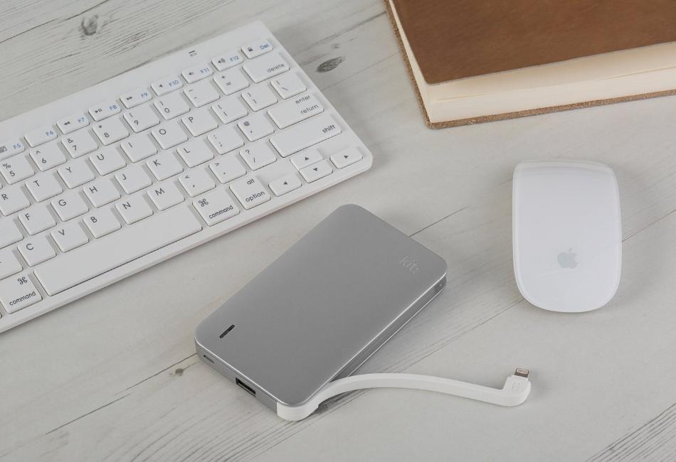 Kit Incarcator portabil cu mufa Apple Lightning MFI, baterie 8200 mAh, PWRUNI8SL Argintiu