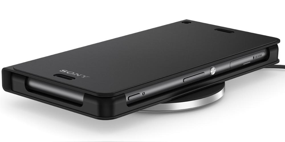 Kit Incarcator wireless Sony WCH10 Black + Husa Cover Stand Black WCR14 pentru Sony Xperia Z3
