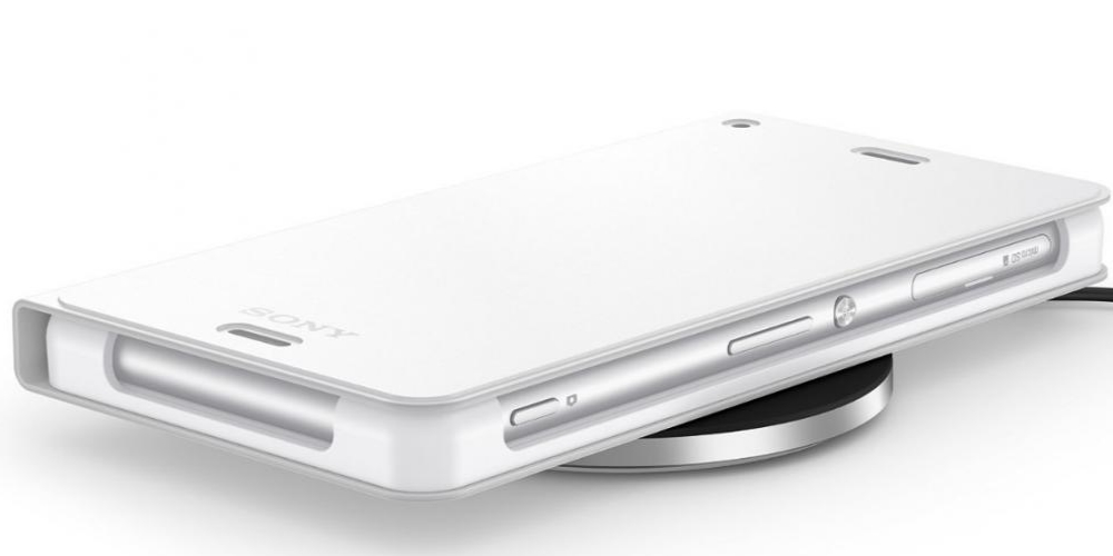 Kit Incarcator wireless Sony WCH10 Black + Husa Cover Stand White WCR14 pentru Sony Xperia Z3