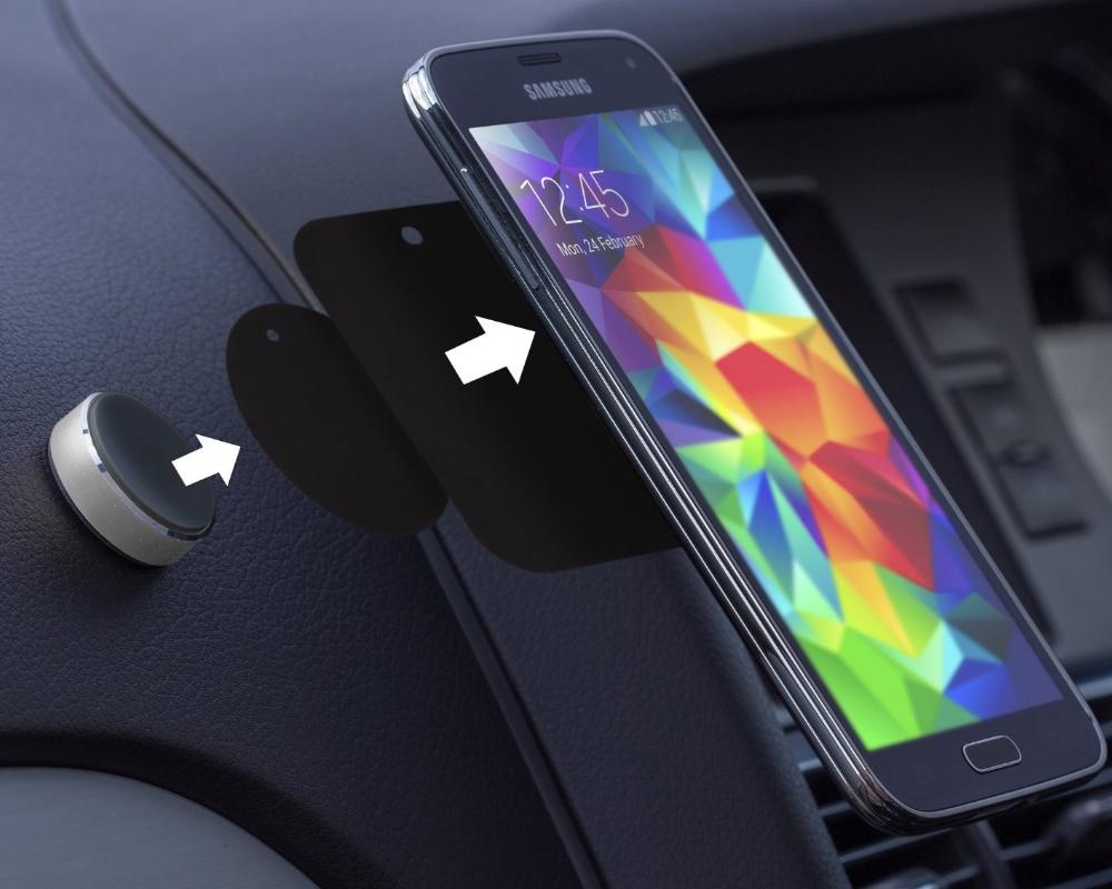 Suport auto telefon magnetic universal, prindere de bord, Kit HOLMAGSL, Argintiu 1